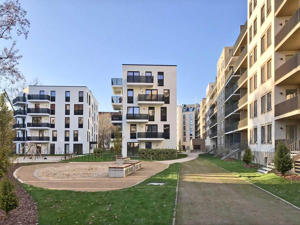 Stadtvillen im Innenhof des Quartiers am Wettiner Platz - hpm Henkel Projektmanagement