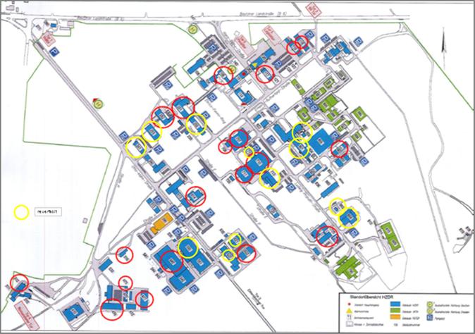 Lageplan für die Zustandsbewertung des HZDR