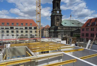Wohnquartier am Altmarkt, Bautenstand 4. Obergeschoss, Foto: hpm