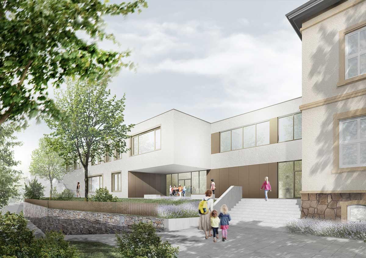 Architekturentwurf der Questenberg-Grundschule, Ansicht des Eingangs, Quelle: RiegerArchitektur Partnerschaft freier Architekten mbB