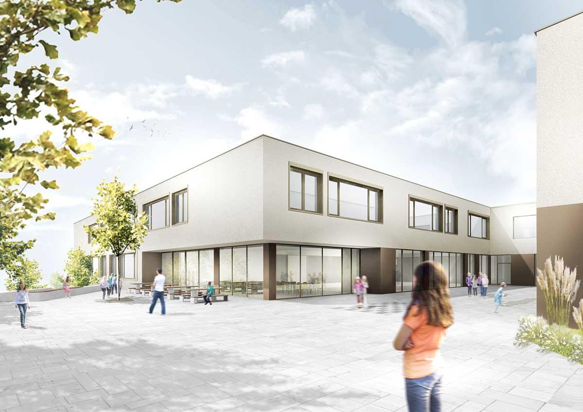 Architekturentwurf der Questenberg-Grundschule, Ansicht des Hofes, Quelle: RiegerArchitektur Partnerschaft freier Architekten mbB