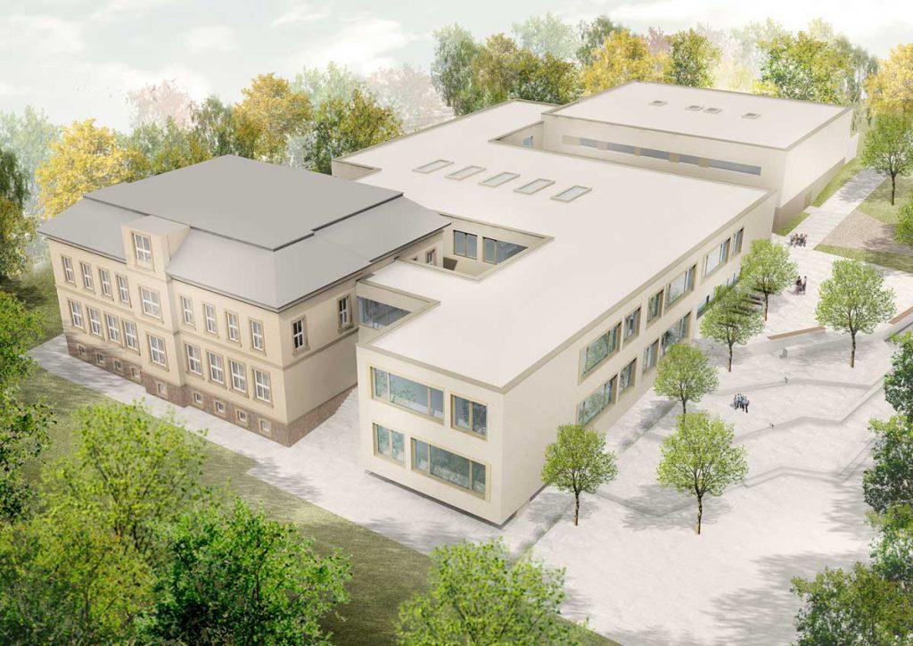 Architekturentwurf zur Sanierung und Erweiterung der Questenberg-Grundschule in Meißen, Quelle: RiegerArchitektur Partnerschaft freier Architekten mbB