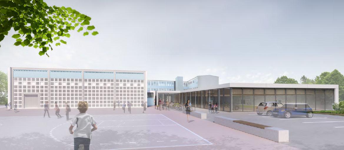 Sporthallen 49. Grundschule Dresden, Blick von der Kaitzer Straße