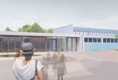 Sporthallen 49. Grundschule Dresden, Blick von der Schule