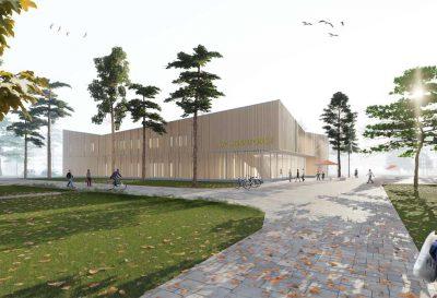Entwurf der neuen Verwaltungszentrale des Staatsbetriebs Sachsenforst in Graupa; Grafik: ZRS Architekten mit Partner und Partner Architekten