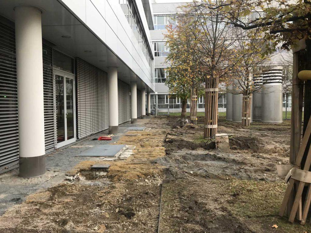 Bauarbeiten zur Neugestaltung der Freianlagen rund um das Tagungszentrum des IAG