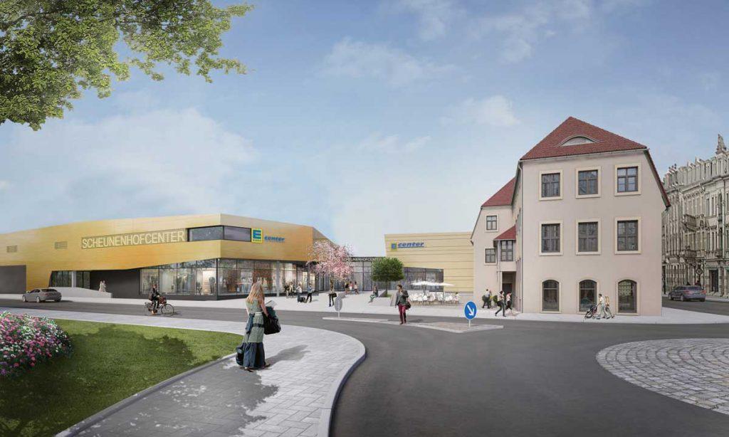 Visualisierung des neuen Scheunenhofcenters in Pirna, Vorderansicht. Quelle: Seidel+Architekten & archlab.de
