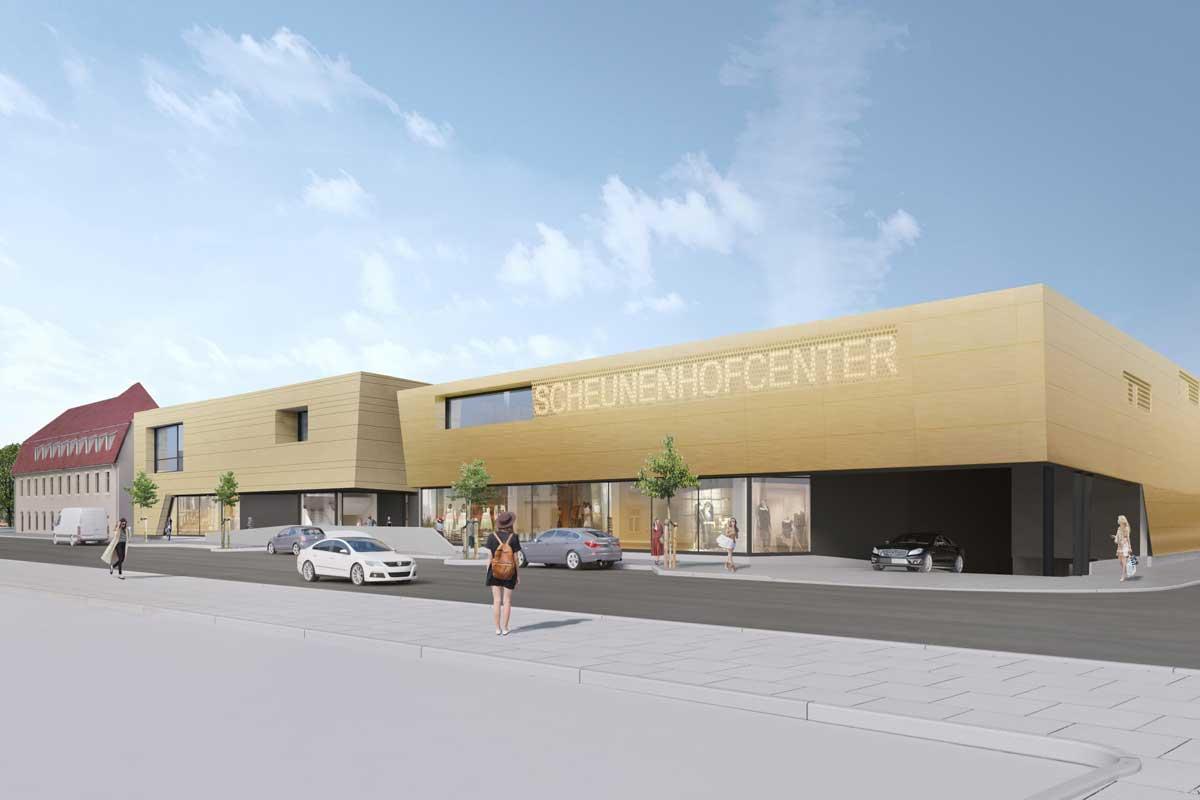 Visualisierung des neuen Scheunenhofcenters in Pirna, Rückansicht. Quelle: Seidel+Architekten & archlab.de