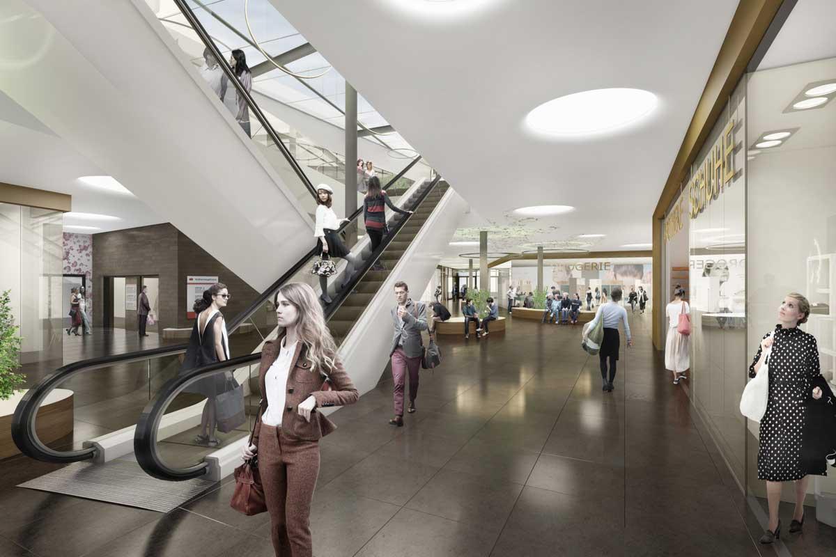 Visualisierung des neuen Scheunenhofcenters in Pirna, Innenansicht. Quelle: Seidel+Architekten & archlab.de