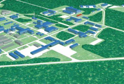 schematisches Luftbild des Helmholtz-Zentrum Dresden-Rossendorf HZDR