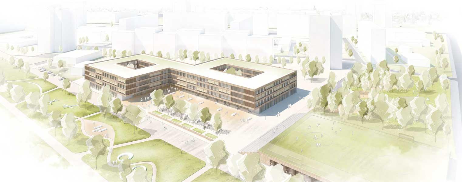 Konzeptidee zum Campus am Dösner Weg, Vogelperspektive; Visualisierung: © wörner traxler richter Architekten