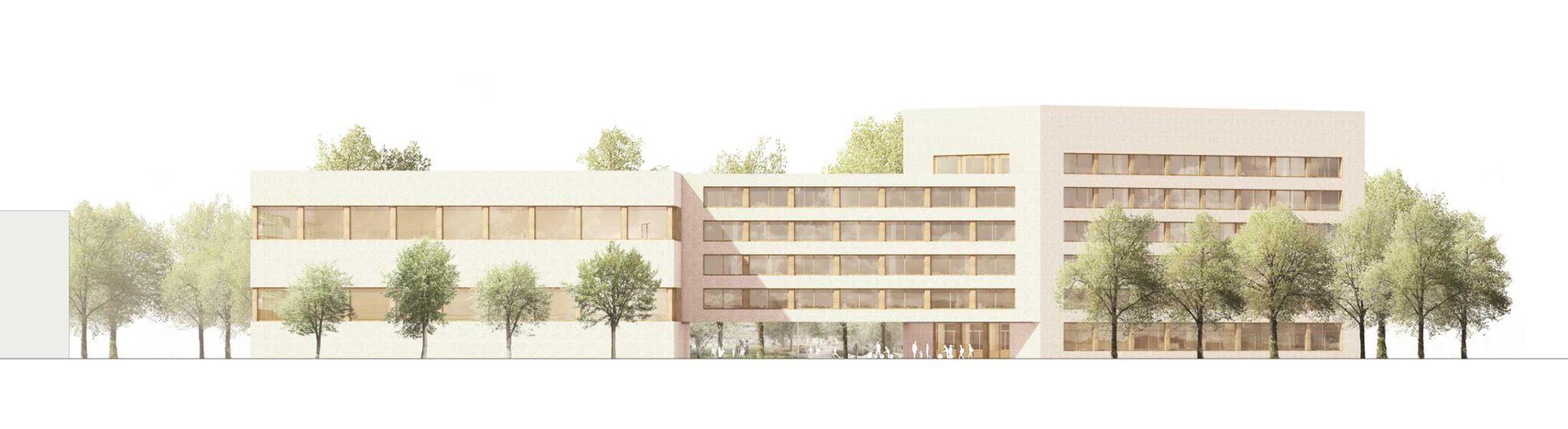 Konzeptidee zum Neubau des Gymnasiums Prager Spitze, Ansicht von Süden; Visualisierung: © Schulz und Schulz Architekten