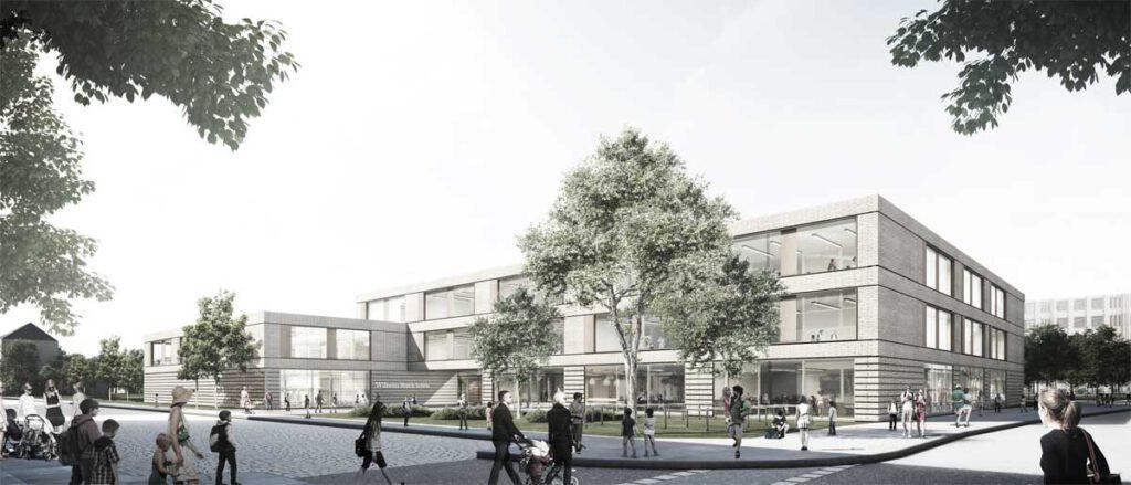Konzeptidee zum Neubau der Wilhelm-Busch-Schule am Gerichtsweg in Leipzig, Perspektive Eingang; Visualisierung: © gmp Architekten von Gerkan, Marg und Partner