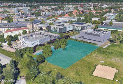 Das Baugrundstück für das neue Lehmann-Zentrum II liegt am Südende des Uni-Campus' in zweiter Baureihe an der Nöthnitzer Straße. (Quelle: Google Earth)
