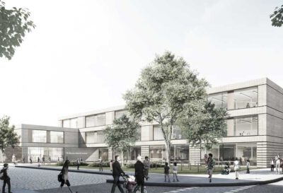 Konzeptidee für den Neubau der Wilhelm-Busch-Schule am Gerichtsweg in Leipzig, Perspektive Eingang; © gmp Architekten von Gerkan, Marg und Partner