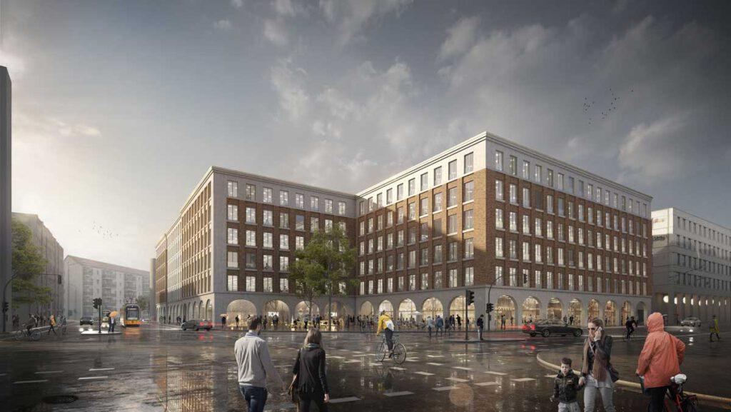 Annenhöfe aus der Perspektive Ecke Freiberger- und Hertha-Lindner-Straße; Visualisierung: Knerer und Lang Architekten GmbH