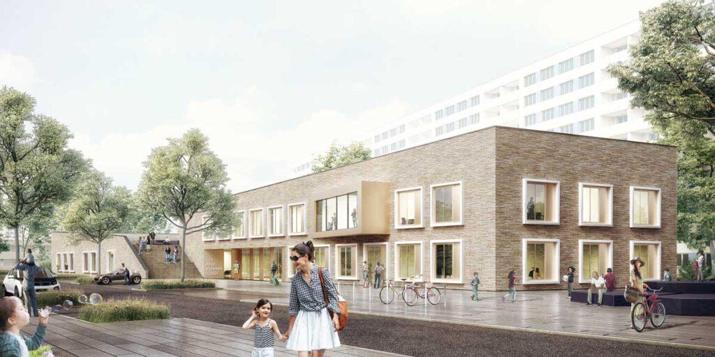 Entwurf des neuen Stadtteilhauses Johannstadt, © Arge AKL - Jordan Balzer Schubert Architekten PartG mbB und L10 Architekten GmbH