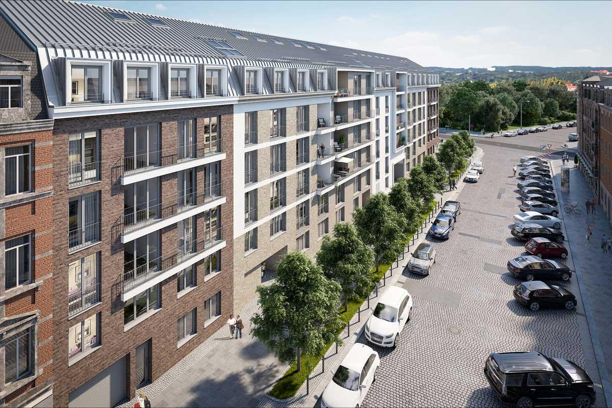 Visualisierung des Baukörpers am Blockrand, Quelle: Quartier am Friedenseck GmbH & Co. KG, Visualisierung: Cadman GmbH – Real Estate Marketing