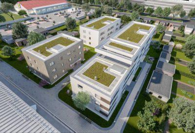 Visualisierung der drei Baukörper im Quartier, Quelle: Quartier am Friedenseck GmbH & Co. KG, Visualisierung: Cadman GmbH – Real Estate Marketing