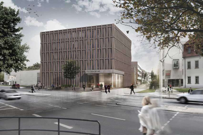 Entwurf für den Neubau Technikum an der Kreuzung Äußeren Schneeberger Straße/ Dr.-Friedrichs-Ring, Zwickau (Copyright: NEUMANN ARCHITEKTEN, Plauen/Vogtl.)