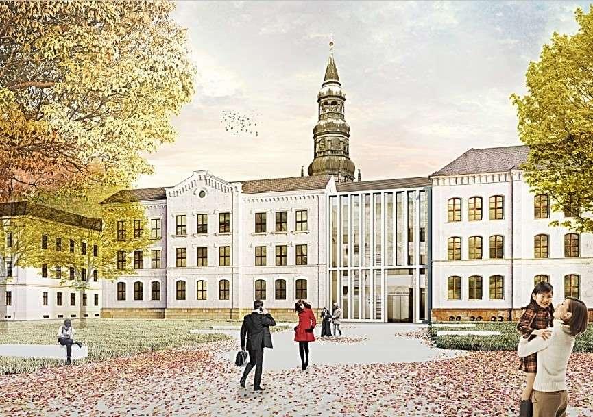 Visualisierung Hochtechnologiezentrum Ansicht Ecke Hansaschule (Copyright: Arge RBZ LD)