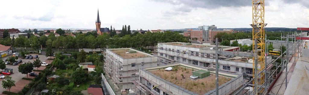 Panoramablick über das Quartier am Friedenseck in Dresden